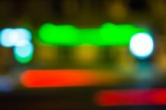 Het abstracte onduidelijke beeld van de nachtstad Stock Afbeeldingen