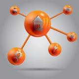 Het abstracte ontwerp eps 10 van Web oranje molekule Royalty-vrije Stock Foto