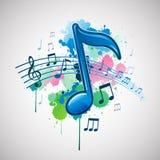 Het abstracte ontwerp van de de inktverf van de muzieknota splat Royalty-vrije Stock Foto