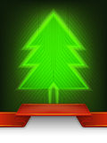 Het abstracte ontwerp van de de lijnkunst van de Kerstmisboom Stock Fotografie