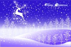 Het abstracte ontwerp van de Kerstmiskaart van rendier die de hemel vliegen - vectoreps10 Stock Afbeelding