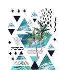 Het abstracte ontwerp van de de zomer geometrische affiche Stock Foto