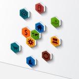 Het abstracte ontwerp van het veelhoek 3D achtergrond-infographic malplaatje Stock Afbeelding
