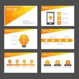 Het abstracte oranjegele infographic element en pictogram vlakke ontwerp van presentatiemalplaatjes plaatste voor het pamfletwebs Stock Fotografie