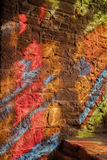 Het abstracte patroon van het gebrandschilderd glasvenster, Goodrich-Kasteel, Herefordshire Stock Afbeelding
