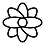 Het abstracte pictogram van de bloemlijn Bloesem vectordieillustratie op wit wordt geïsoleerd Het bloemendieontwerp van de overzi stock illustratie