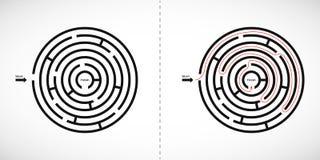 Het abstracte pictogram van het labyrintlabyrint Het ontwerpelement van de labyrintvorm met één ingang en één uitgang Vector illu royalty-vrije illustratie