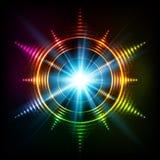 Het abstracte regenboogneon beweegt vector kosmische ster spiraalsgewijs Stock Afbeeldingen