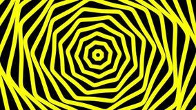 Het abstracte roteren, groeiende lijnen in geel op zwarte stock videobeelden