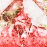 Het abstracte roze en groene schilderen op zijdebatik Stock Foto's