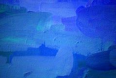 Het abstracte schilderen in donkerblauwe koude tonen Stock Fotografie