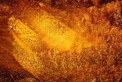 Het abstracte schilderen, gouden luminescentie, achtergrond Stock Foto