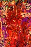 Het abstracte schilderen met bloemenelementen Royalty-vrije Stock Foto