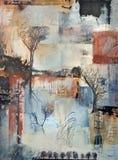 Het abstracte schilderen met bomen en bladeren Royalty-vrije Stock Afbeelding