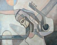 Het abstracte Schilderen met Vrouw en Gitaar Stock Foto