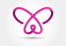 Het abstracte symbool van de oneindigheidsvlinder Vectorembleemmalplaatje Ontwerp Stock Fotografie