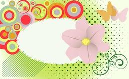 Het abstracte thema van de grungebloem met vlinders. Royalty-vrije Stock Afbeelding