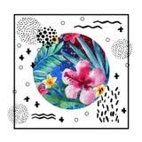Het abstracte tropische ontwerp van de de zomeraffiche in minimale stijl Royalty-vrije Stock Foto's