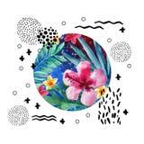 Het abstracte tropische ontwerp van de de zomeraffiche in minimale stijl Royalty-vrije Stock Fotografie
