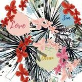 Het abstracte tropische patroon met palm doorbladert en vlekken Liefde, zon, royalty-vrije illustratie