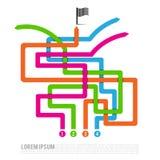 Het abstracte van de de concurrentieoplossing van de Vier kleurenweg doel van de de manierweg aan Stock Afbeeldingen