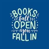 Het abstracte van letters voorzien over boeken en het lezen voor afficheontwerp Met de hand geschreven brieven Typografie grappig stock illustratie