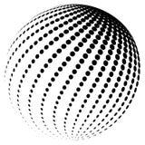 Het abstracte vector halftone ontwerp van het het symboolpictogram van het bolembleem Royalty-vrije Stock Afbeelding