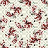 Het abstracte vector naadloze patroon van bloembloemblaadjes op een geometrisch grunge effect als achtergrond Stock Foto's