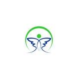 Het abstracte vectorembleem van de vogelvleugel Royalty-vrije Stock Foto's