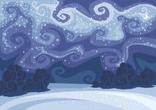 Het abstracte vectorlandschap van de de winternacht Royalty-vrije Stock Afbeeldingen