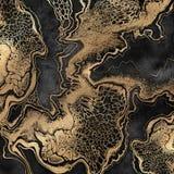 Het abstracte vloeibare acryl schilderen, gouden aders op zwarte achtergrond, creatief waterverfbehang, marmerende illustratie stock illustratie