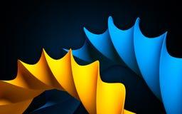 Het abstracte voorwerp als blauwe en oranje wervelingskrommen kijkt als DNA Vector Illustratie