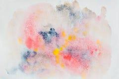 Het abstracte waterverf kleurrijke schilderen als achtergrond met nevel, vlekken, plonsen Hand-drawn achtergrond, document korrel Royalty-vrije Stock Foto
