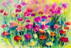Het abstracte waterverf originele schilderen kleurrijk van Mexicaanse bloemen Royalty-vrije Stock Afbeelding