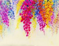 Het abstracte waterverf originele schilderen kleurrijk van orchideebloemen Royalty-vrije Stock Foto's