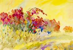 Het abstracte waterverf originele schilderen op document kleurrijk van bloemen Royalty-vrije Stock Afbeelding
