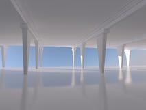 Het abstracte witte lege binnenlandse 3D teruggeven als achtergrond Stock Fotografie