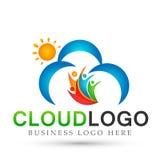 Het abstracte Zon en wolken van de het werkunie van het mensenteam van de wellnessviering pictogram van het het conceptensymbool  stock illustratie