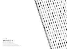 Het abstracte zwart-witte geometrische patroon van streeplijnen achter witte beschikbare ruimteachtergrond stock illustratie