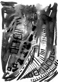 Het abstracte zwart-witte schilderen Beeld voor een modern binnenland Stock Fotografie