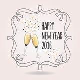 Het abstracte zwarte en gouden Gelukkige pictogram van Nieuwjaar 2016 toejuichingen Royalty-vrije Stock Afbeelding