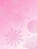 Het achtergrond-roze van de sneeuwvlok Stock Fotografie