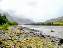 Het achtergrondwaterverf schilderen bergenlandschap Royalty-vrije Stock Fotografie