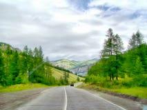 Het achtergrondwaterverf schilderen bergenlandschap Royalty-vrije Stock Foto