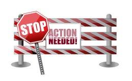 Het actie nodig ontwerp van de barrièreillustratie Stock Afbeelding