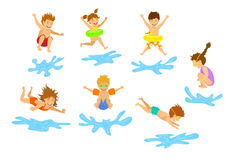 Het actieve van van jonge geitjeskinderen, jongens en meisjes duiken die in zwembadwater springen vector illustratie
