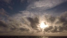 Het adembenemende panorama van het overzees bij zonsondergang in zijn gouden uur en een zeemeeuw schommelt plotseling in de wind stock videobeelden