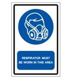 Het ademhalingsapparaat moet in Dit Teken van het Gebiedssymbool, Vectorillustratie worden gedragen, die op Wit Etiket wordt geïs vector illustratie