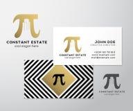 Het Adreskaartjemalplaatje van Constant Estate Abstract Vector Premium Pi-Teken met Negatieve Ruimtegebouwen als Embleem Stock Afbeelding