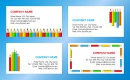 Het adreskaartjemalplaatje van kleurpotloden Stock Afbeelding